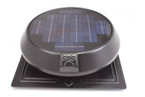 SunRise 1250 Round Solar Attic Fan with Flat Base and Thermostat