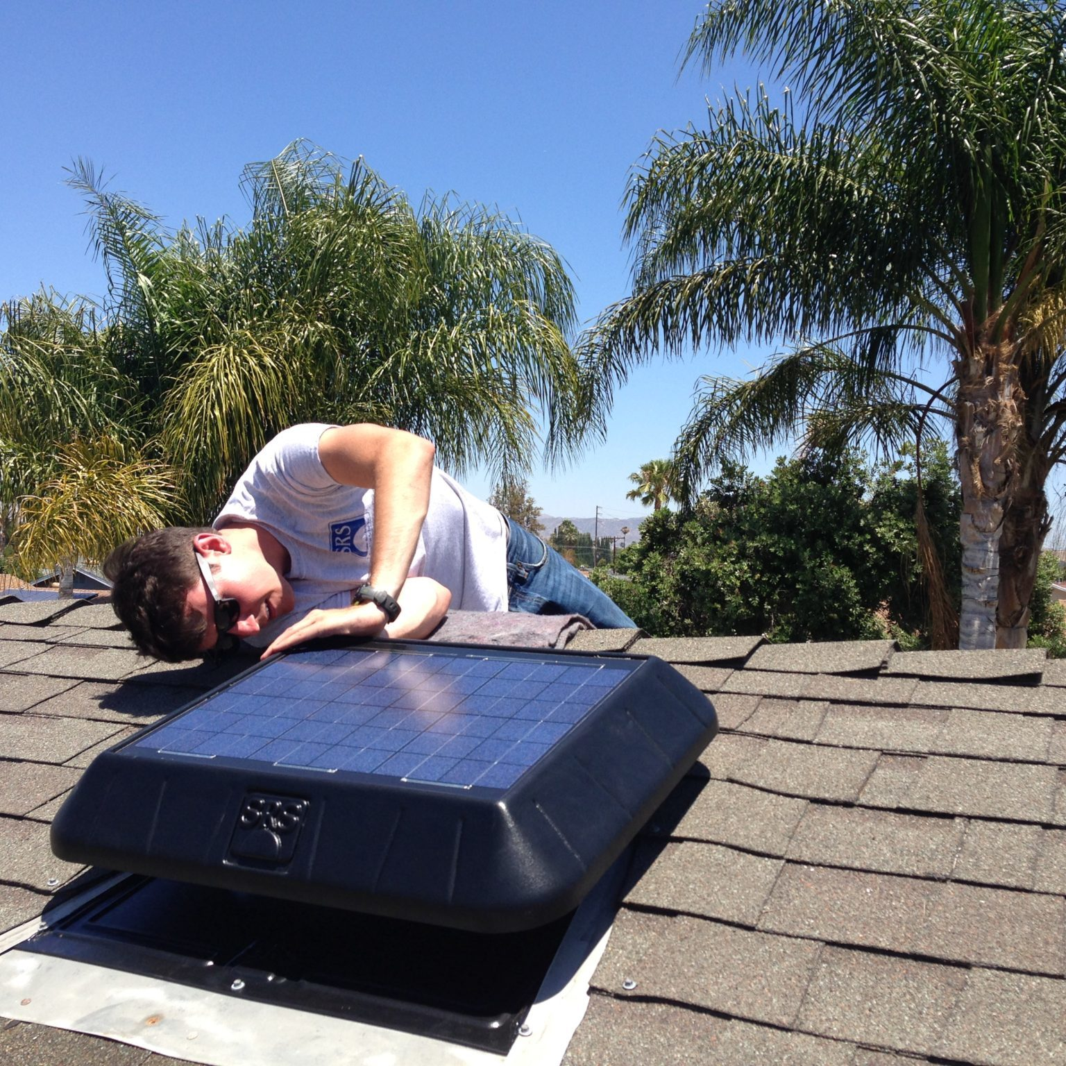 sunrise solar fan installing