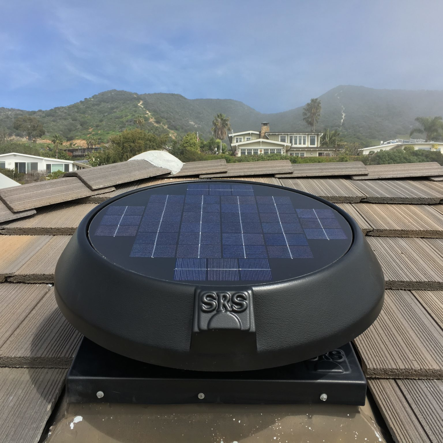 solar fan installed on roof